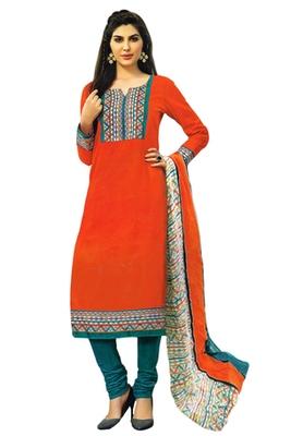 Dark Orange and Turquoise printed Cotton unstitched salwar with dupatta