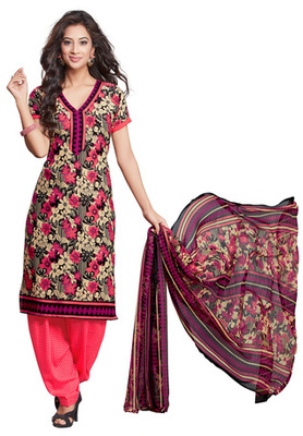 Pink and Black and Fawn printed Synthetic unstitched salwar with dupatta