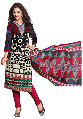 Black and Off Whte and Red printed Synthetic unstitched salwar with dupatta