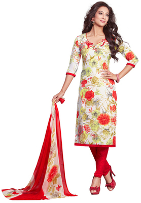 White and Red and Florescent Yellow printed Synthetic unstitched salwar with dupatta