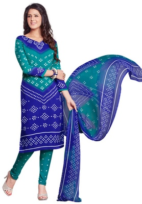 Blue and Green printed Synthetic unstitched salwar with dupatta