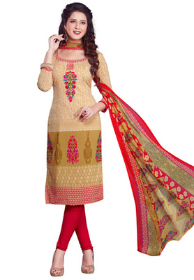 Beige and Red and Walnut printed Synthetic unstitched salwar with dupatta