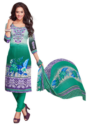 Green and White and Voilet printed Synthetic unstitched salwar with dupatta