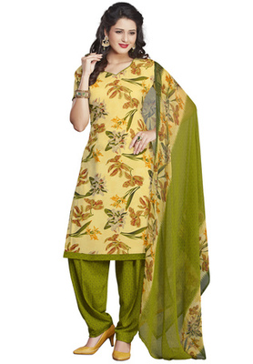 Lemon Yellow and Olive printed Synthetic unstitched salwar with dupatta