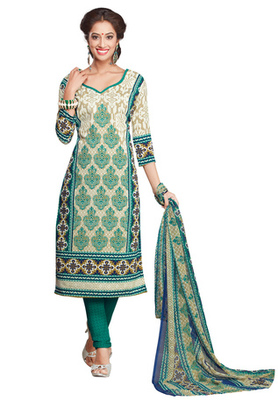 Off White and Turquoise Green printed Synthetic unstitched salwar with dupatta