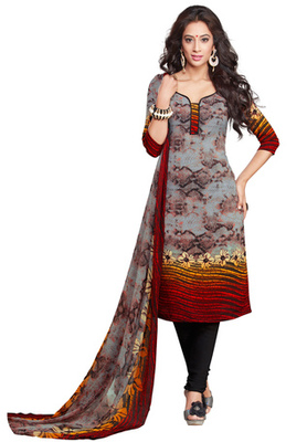 Grey and Red and Black printed Synthetic unstitched salwar with dupatta