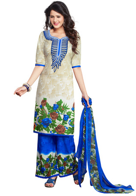 Off White and Blue printed Synthetic unstitched salwar with dupatta