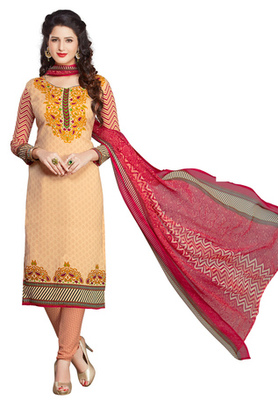 Beige and  Red printed Synthetic unstitched salwar with dupatta