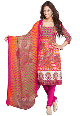 Orange and Pink and White printed Synthetic unstitched salwar with dupatta