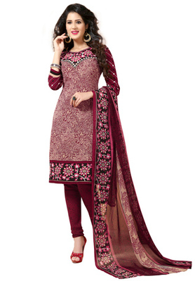Wine and Beige printed Synthetic unstitched salwar with dupatta