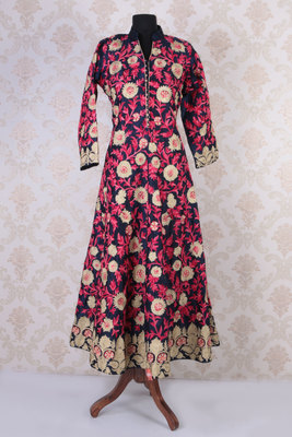 Pink multicoloured raw silk embroidered stunning long jacket anarkali