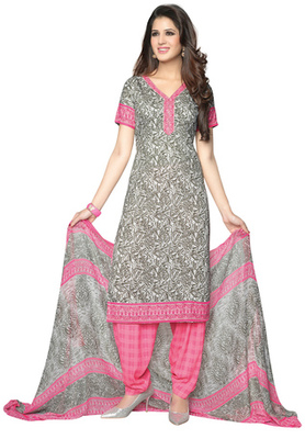 Light Pink and Grey printed Synthetic unstitched salwar with dupatta