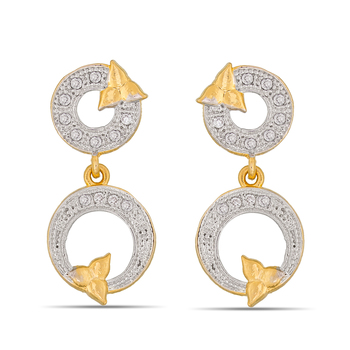 Fashionable American Diamond Studded Gold Plated Earrings