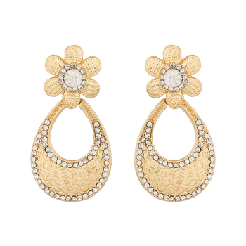 Floral Pattern Designer Gold Plated Earrings