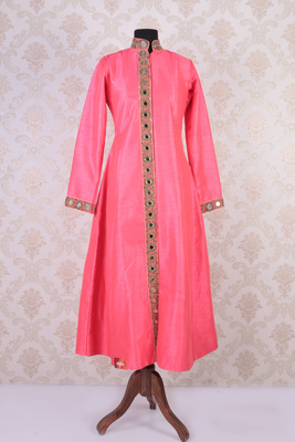 Blush pink raw silk embroidered long jacket anarkali with mandarin collar