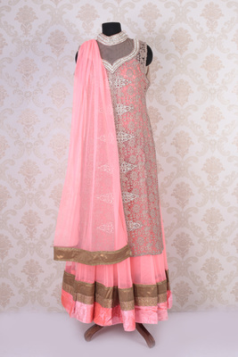Pink multicoloured net embroidered anarkali and long jacket with mandarin collar