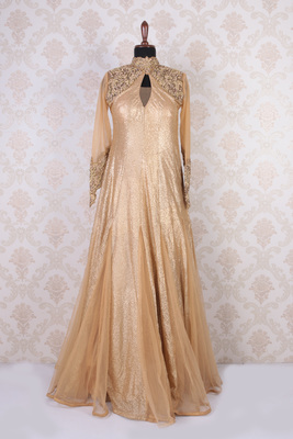 Beige and gold net embroidered excellent anarkali with mandarin collar