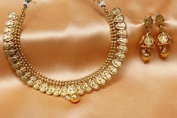 goldplated laxmi necklace set