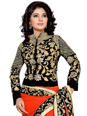 Black Designer Embroidered Velvet Semi-Stitched Blouse