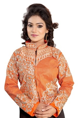 Orange Designer Embroidered Velvet Semi-Stitched Blouse