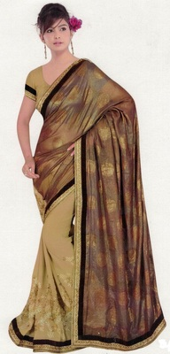 multicolor embroidered crepe saree with blouse