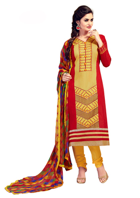 Yellow and Red embroidered Chanderi unstitched salwar with dupatta