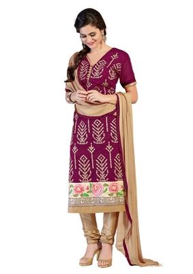 Purple and Beige embroidered Chanderi unstitched salwar with dupatta