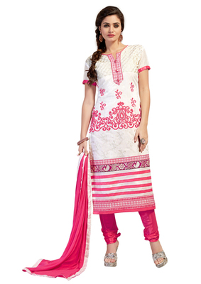 White and Pink embroidered Chanderi unstitched salwar with dupatta