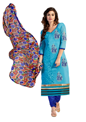 Light Blue embroidered Chanderi unstitched salwar with dupatta