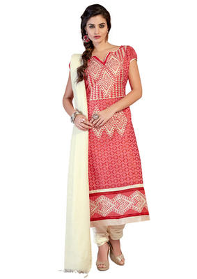 Pink and Beige embroidered Chanderi unstitched salwar with dupatta