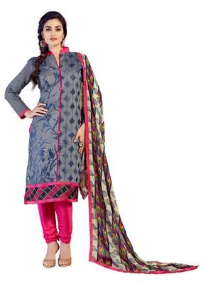 Grey embroidered Chanderi unstitched salwar with dupatta