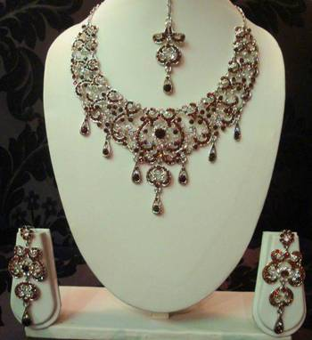 Golden-Brown Silver Necklace Set