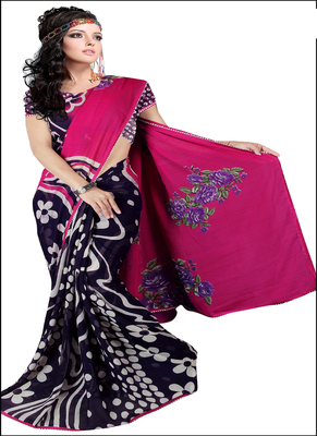 Pink printed rayon saree with blouse