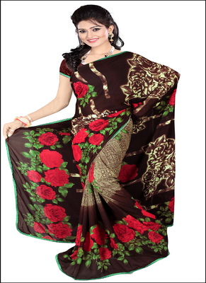 Brown printed rayon saree with blouse