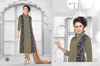 Green and Blue embroidered georgette semi stitched salwar with dupatta