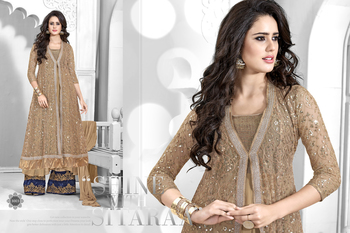 Dark Golden embroidered georgette semi stitched salwar with dupatta