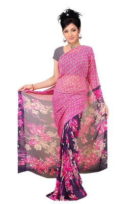 Pink printed chiffon saree with blouse