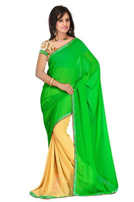 Green printed Georgette saree with blouse