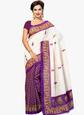 PURPLE printed art silk saree with blouse
