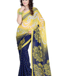 Buy YELLOW printed georgette saree with blouse shimmer-saree online