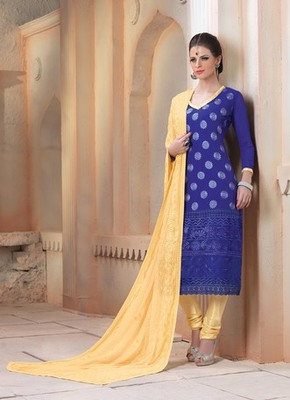 Blue embroidered Chiffon unstitched salwar with dupatta