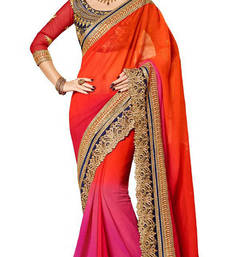Buy ORANGE embroidered georgette saree with blouse shimmer-saree online