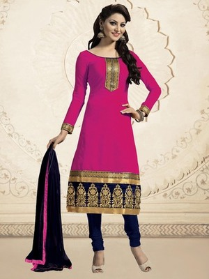Pink embroidered Chanderi unstitched salwar with dupatta