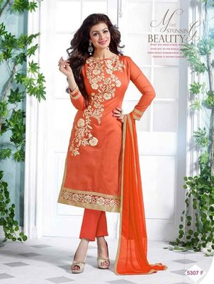 Orange embroidered Chanderi and cotton unstitched salwar with dupatta
