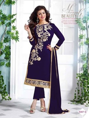 Blue embroidered Chanderi and cotton unstitched salwar with dupatta