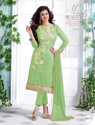 Green embroidered Chanderi and cotton unstitched salwar with dupatta