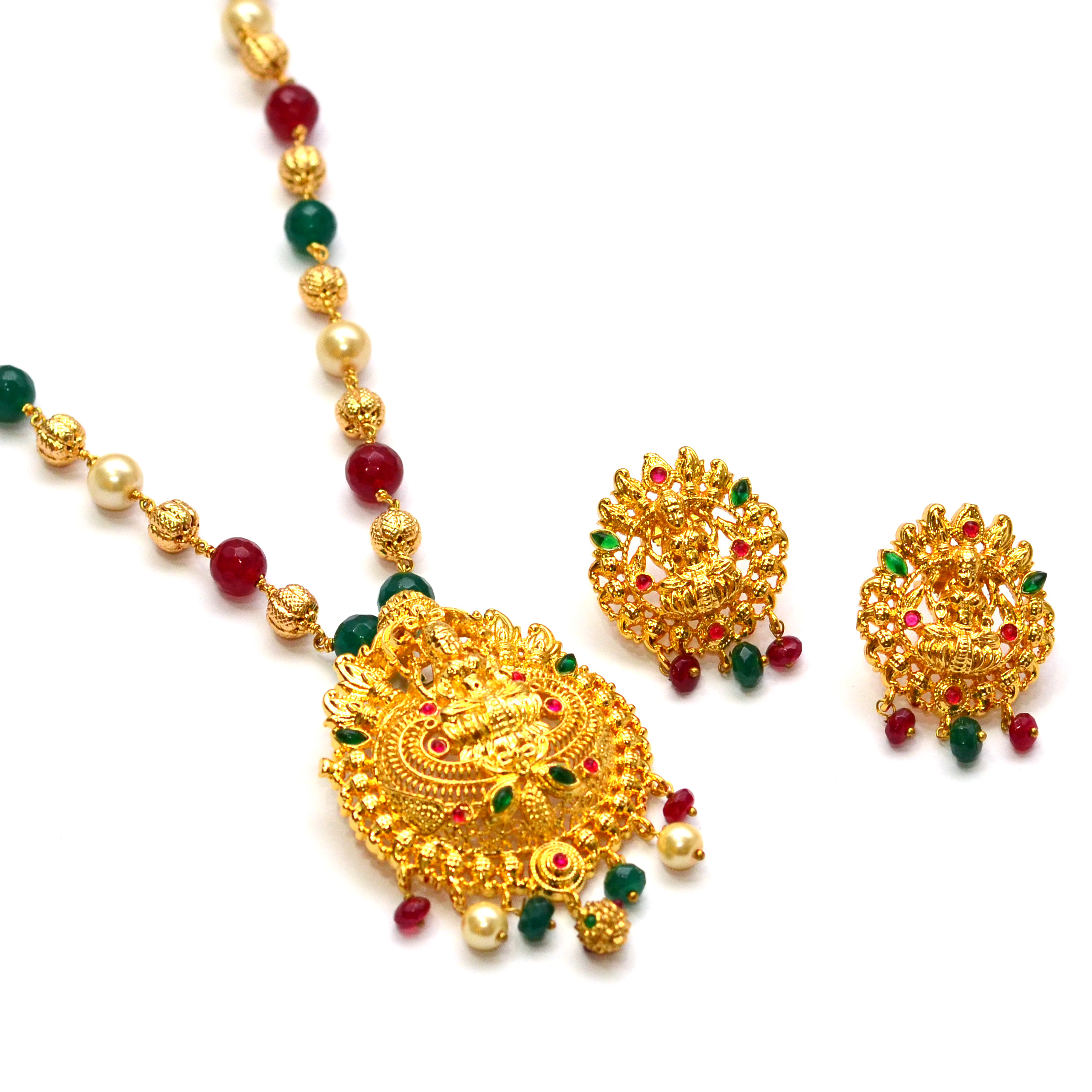 5f61c79884 Anvi's lakshmi (temple jewellery) pendent with rubies and emeralds with  multi color beads and pearls chain - Ratna Varma Polakonda - 162951