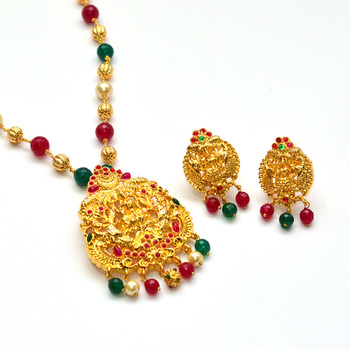 698711e4e5 Anvi's lakshmi (temple jewellery) pendent with rubies and emeralds with  multi color beads and pearls chain. - Ratna Varma Polakonda - 307966