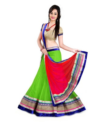 green embrodered net designeer lehngha lehngha choli with blouse