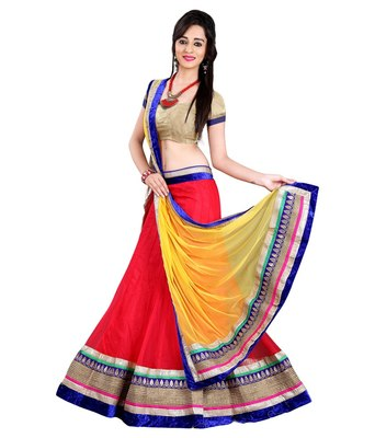 red embrodered net designeer lehngha lehngha choli with blouse